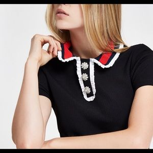 River Island collar Top with Diamond Buttons